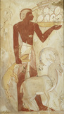 Copy of wall painting, private tomb 78 of Horemheb, Thebes, servant with ibex, hare and ostrich eggs