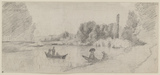Study of a river landscape with boats