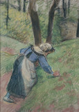 Peasant woman weeding the grass