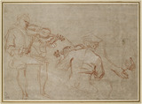 Study of two Violinists and a Pair of Hands, holding an Arm, on the right