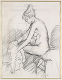 Study of a Nude Female, seated, drying her right Foot