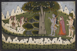 Rama, Sita and Laksmana in a landscape with ascetics