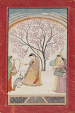 Lady on terrace grasping tree branch, with peacock, maid & two musicians