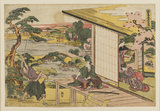 In the grounds of the castle of Wakasa-no-suke Honzo, in the presence of Wakasa, cutting off the branch of a pine tree.