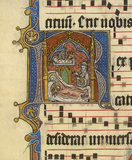 Nativity: illuminated page of music for the Christmas Vespers antiphon 'Rex Pacificus Magnificatus Est'