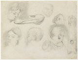 Recto: Studies of a Child's Head, a Woman's Head, a Spoon, and a longcase Clock
