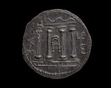 Roman provincial silver coin Tretradrachm, Judea; An image of the destroyed Temple