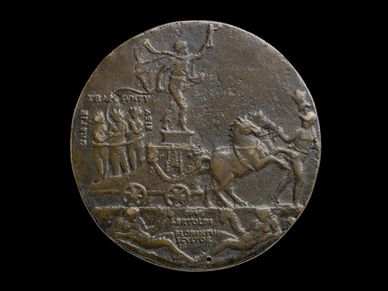 Bust of Mehmed II / Personifications of Greece, Trebizond and Asia held in a lasso in the back of a victory chariot
