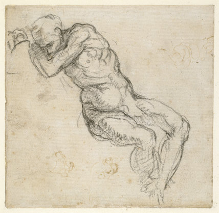 Recto: Sketchbook sheet for the Ancestors of Christ in the Sistine Ceiling: sleeping figure