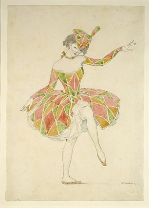 Design for Anna Pavlova's Costume of Columbine in 'Arlekinade'