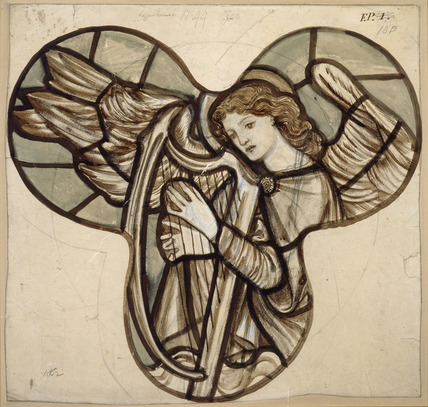 Design for stained glass in Lyndhurst Church: An Angel Harpist