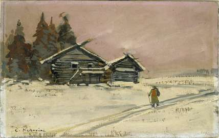 Winter Landscape with two wooden Huts