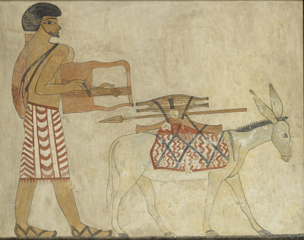 Copy of wall painting, private tomb 3 of Khnumhotpe III, Beni Hasan, Semite playing lyre preceded by donkey