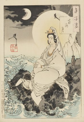 Kuan yin seated by the sea.
