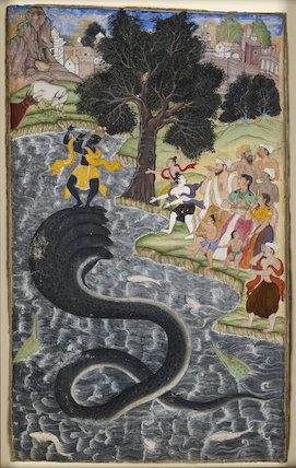 Krishna dancing on the head of Kaliya