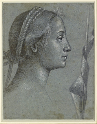 Recto: Head of a Woman with a Pennant wound round a Pole Verso: Head of a Woman