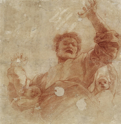 Recto: Study for a Figure of the Almighty