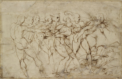 Verso: Battle Scene with Prisoners being pinioned