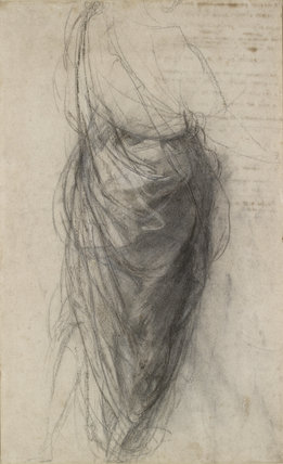 Recto: Study for the Drapery of a Man in back view