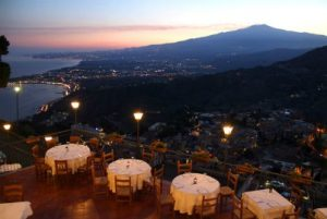 A spectacular view from the terrace at Al Saraceno Restaurant during a Sicily vacation