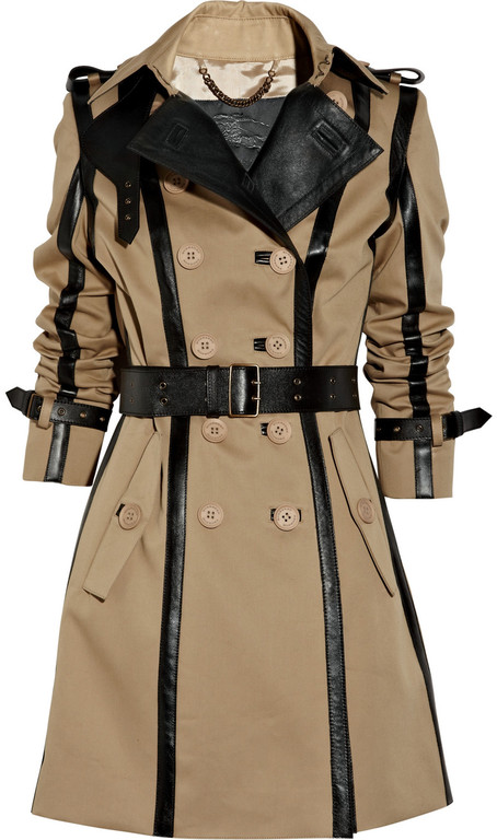 BURBERRY PRORSUM  Leather-trimmed Twill Trench Coat