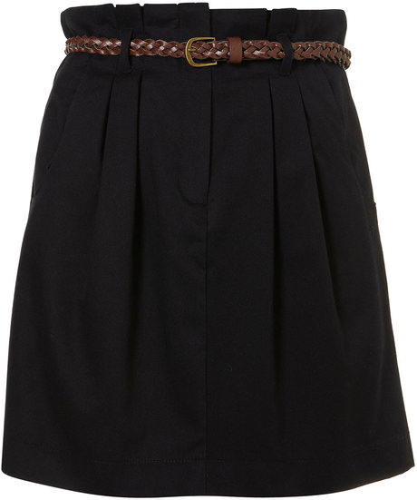 Topshop Black Belted Paperbag Waist Skirt in Black