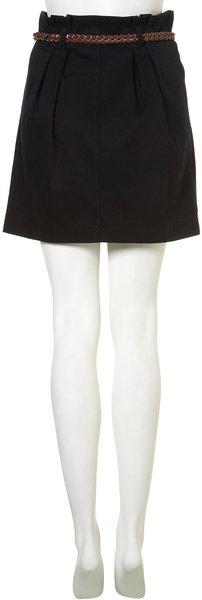 Topshop Black Belted Paperbag Waist Skirt in Black