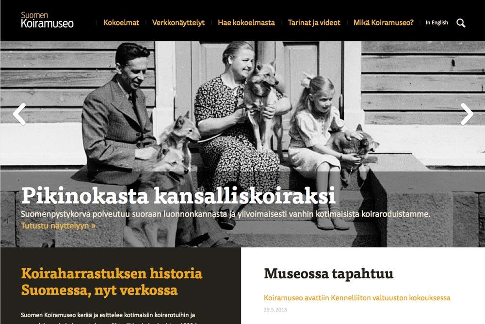 Ruutukaappaus Koiramuseon etusivusta.