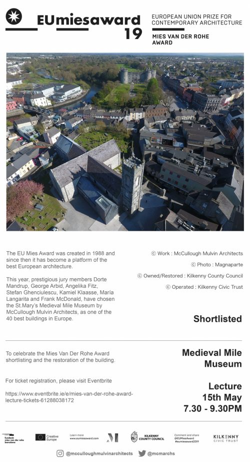 EU Mies Award Lecture at Medieval Mile Museum - Wednesday 15th May 2019