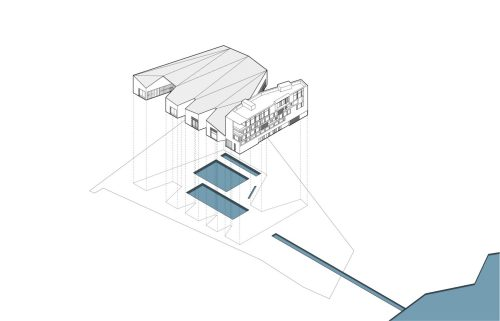 axonometric of pools and building