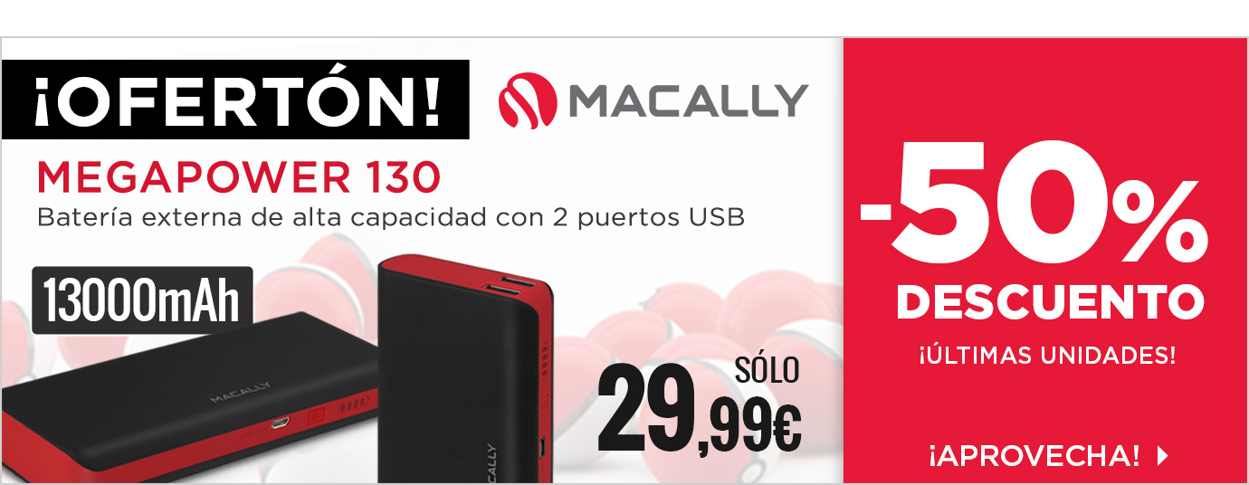 Ofertón - Macally Megapower 130 Batería 13000 mAh USB