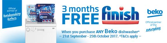 Beko 3 months free Finish Detergent