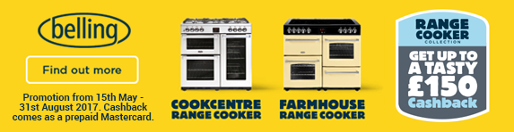 Belling up to £150 Cashback  on selected range cookers up to 31.08.2017