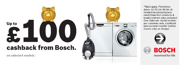 Bosch - Up to �100 cashback on selected items