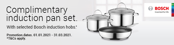 Bosch - Free Induction Pan Set on selected Induction Hobs 01.01.2016-31.12.2017