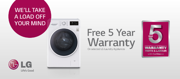 LG - 5 year warranty on selected laundry