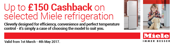 Miele Up to ?150 Cashback on Miele Refrigeration 01.03-04.05.2017