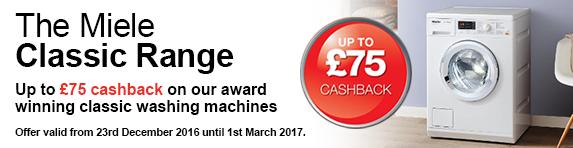 Miele up to ?75 cashback on Classic Range 23.12.2016-01.03.2017