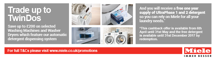 Miele Twin Dos Cashback up to ?200 17.11-11.10.2017