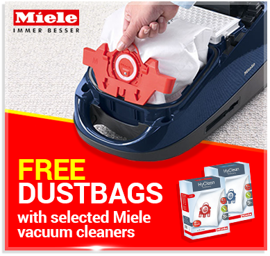 Free Miele Dustbags with selected Miele vacuum cleaners