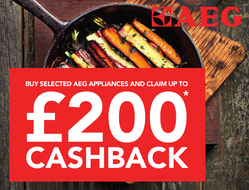 Up to �200 cashback with selected AEG appliances