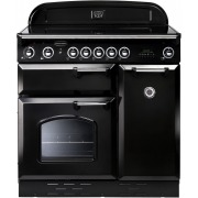 Rangemaster CLAS90ECBL/C Classic Gloss Black with Chrome Trim 90cm Electric Ceramic Range Cooker