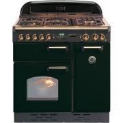 Rangemaster Classic Gloss Black with Brass Trim 90cm Dual Fuel Range Cooker