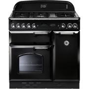 Rangemaster CLAS90DFFBL/C Classic Gloss Black with Chrome Trim 90cm Dual Fuel Range Cooker