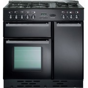 Rangemaster Toledo Gloss Black with Chrome Trim 90cm Dual Fuel Range Cooker
