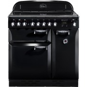 Rangemaster ELAS90ECBL Elan Black with Chrome Trim 90cm Electric Ceramic Range Cooker