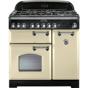 Rangemaster Classic Deluxe Cream with Chrome Trim 90cm Dual Fuel Range Cooker