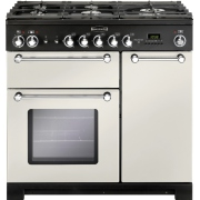 Rangemaster Kitchener Ivory with Chrome Trim 90cm Dual Fuel Range Cooker
