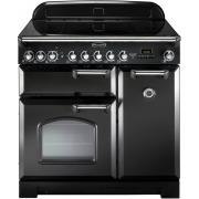 Rangemaster CDL90ECBL/C Classic Deluxe Gloss Black with Chrome Trim 90cm Electric Ceramic Range Cooker