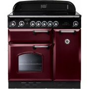 Rangemaster CLAS90EICY/C Classic Cranberry with Chrome Trim 90cm Electric Induction Range Cooker